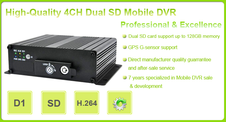 Dual SD Card, Car Mobile DVR, Security System for Vehicle Security
